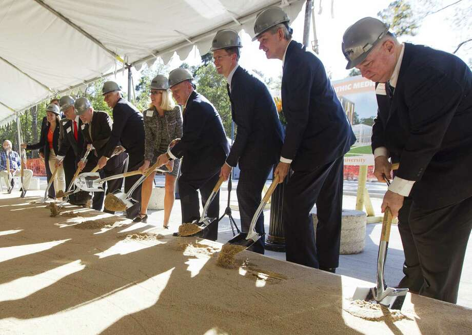 Sam Houston State University held a groundbreaking ceremony for its College of Osteopathic Medicine building, Friday, Nov. 16, 2018, in Conroe. The project consists of a five-story 216,000 square foot building on 7.3 acres on Interstate 45 just south of South Loop 336. Sam Houston State choose osteopathic medicine, a branch of the profession that takes a more holistic approach than traditional medicine, in large part because graduates are more likely to practice primary care medicine and center their practice in rural areas and places like East Texas, where a long-standing shortage of doctors is worsening and some patients must travel 100 miles or more to find care. Photo: Jason Fochtman, Houston Chronicle / Staff Photographer / © 2018 Houston Chronicle