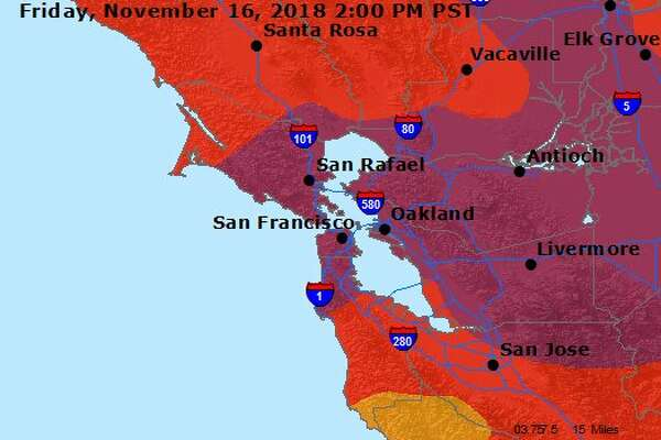 The air quality forecast for the Bay Area as of Friday, Nov. 16.