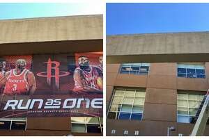 """An enormous banner had hung outside Toyota Center and over La Branch Street. It showed six players flanking the team logo and rising above the """"Run As One"""" slogan, including Carmelo Anthony. On Thursday, the organization took down the banner while the Rockets — winners of three consecutive games — practiced for their upcoming game against the Kings."""