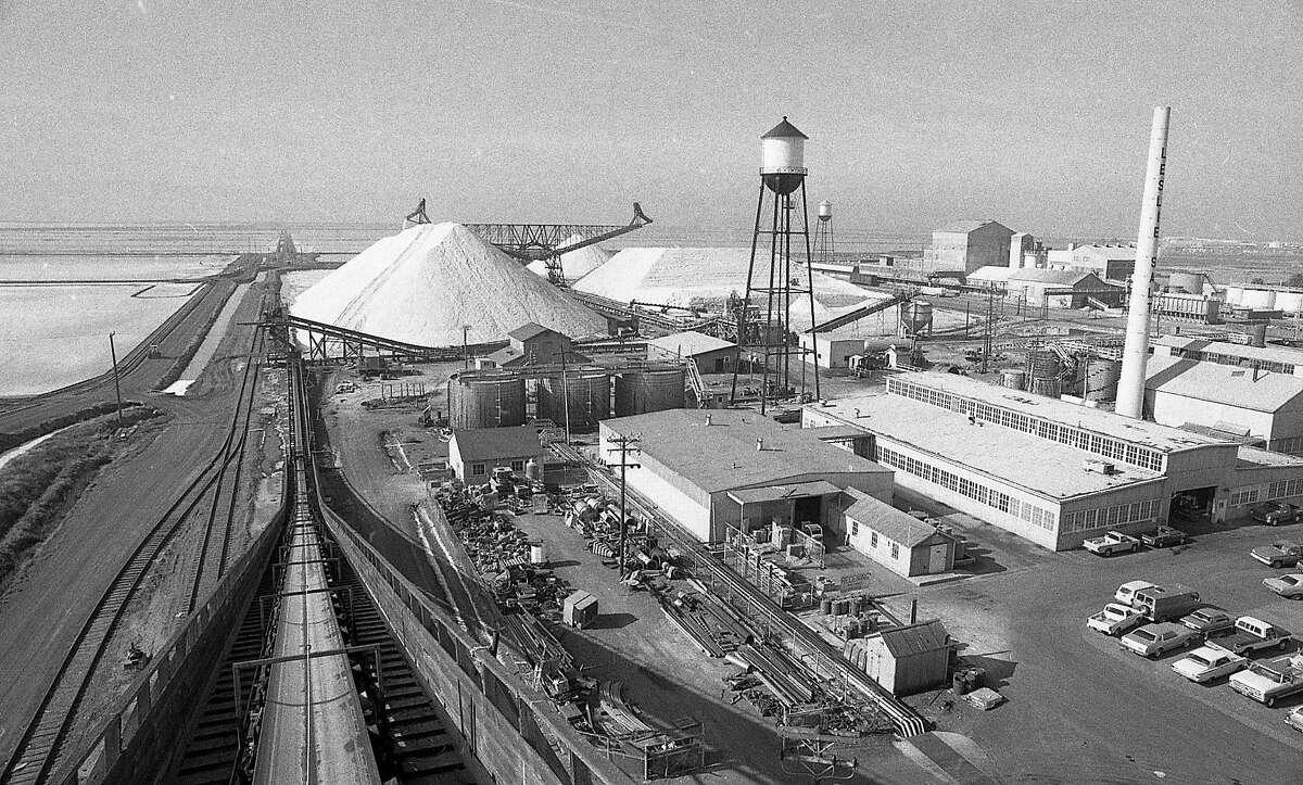 The Leslie Salt Company harvesting salt from the salt ponds in Redwood City , October 14, 1983