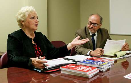 """In this 2018 photo, then-Workforce Solutions Alamo CEO George Hempe listens as Diane Huth, San Antonio-based author of """"Brand You! Reinvent Your Career,"""" speaks about mid-life career challenges, age discrimination, and what older Americans, 50-plus, need to do to find employment."""