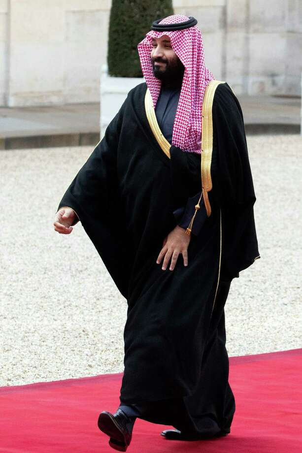 Mohammed bin Salman, Saudi Arabia's crown prince, arrives at the Elysee palace in Paris in April. Photo: Bloomberg Photo By Christophe Morin / Bloomberg