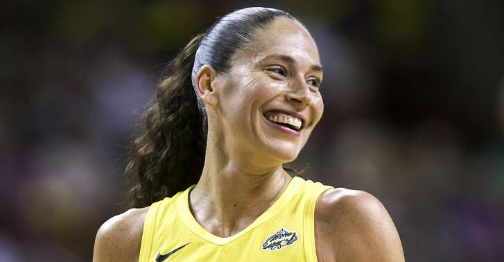 Seattle Storm guard Sue Bird laughs between plays during a WNBA basketball game against the Washington Mystics, Sunday, July 8, 2018, in Seattle. Seattle won 97-91. (Bettina Hansen/The Seattle Times via AP)