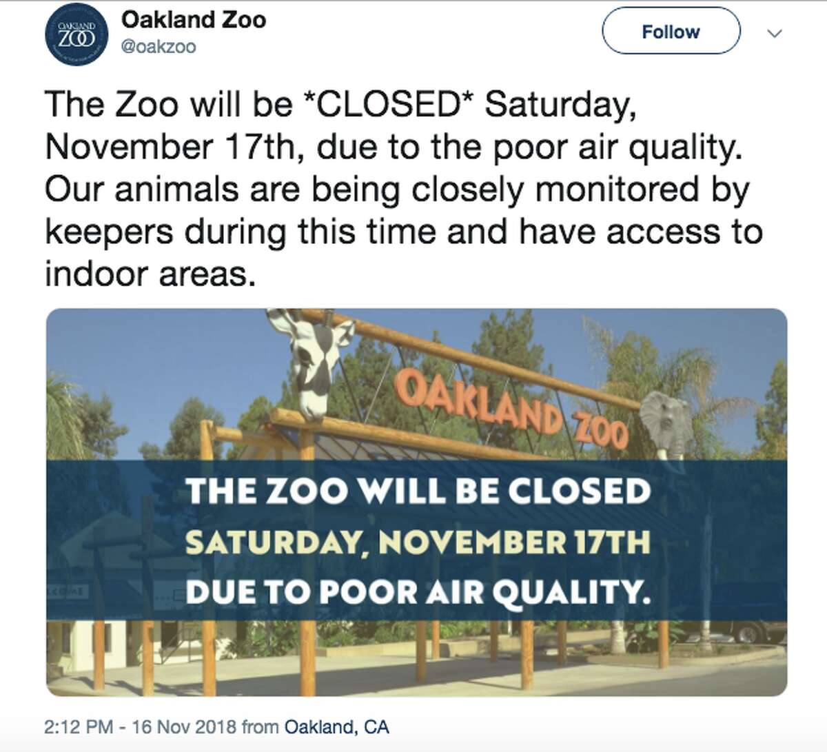 Oakland Zoo shut its doors to visitors on Friday and plans to remain closed on Saturday as poor Bay Area air quality is expected to linger into the weekend and early next week.