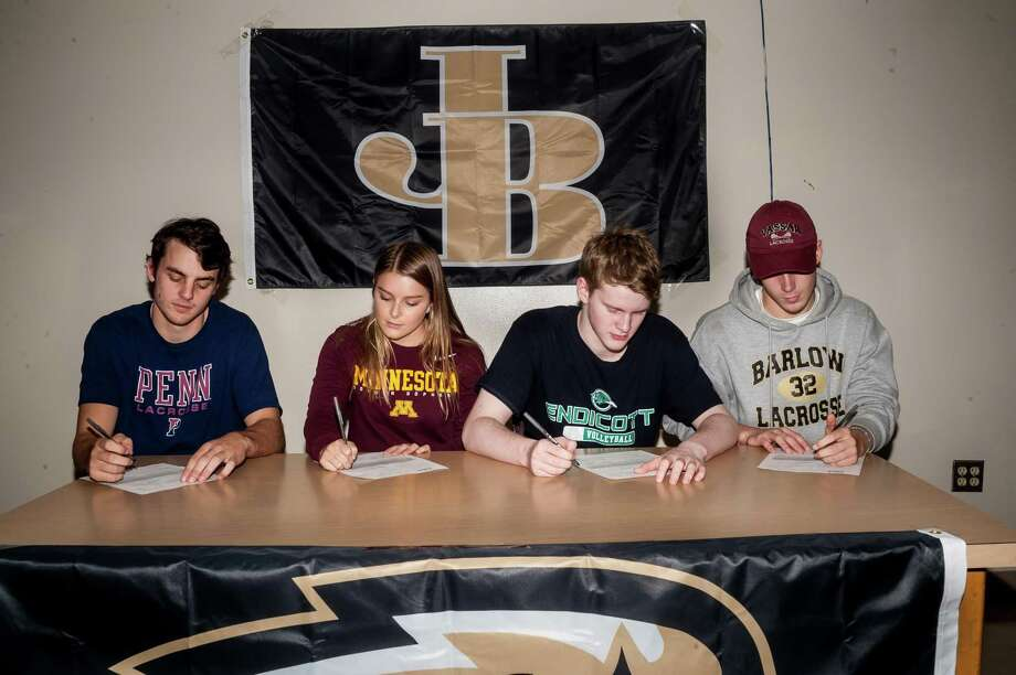 Four Joel Barlow students signed their National Letters of Intent earlier this week: Kevin Richetelli (University of Pennsylvania, men's lacrosse), Hannah Craley (University of Minnesota, diving), Finn McCaffrey (Endicott College, men's volleyball), Henry Eubanks (Vassar College, men's lacrosse). Photo: Contributed Photo / Contributed Photo / Stamford Advocate Contributed