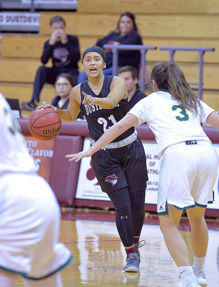 The departure of senior co-captains Ashley Perez, pictured, and Tantashea Giger began a downward spiral leading to a disastrous month of December for the Dustdevils women's basketball team. Photo: Cuate Santos /Laredo Morning Times File / Laredo Morning Times