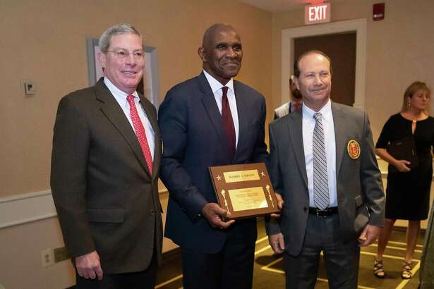 NFL Hall of Famer and Former New York Giant, Harry Carson, receives an award at the 58th annual Greenwich Old Timers Athletic Association awards dinner on November 16, 2018 at the Hyatt Regency in Greenwich, CT.