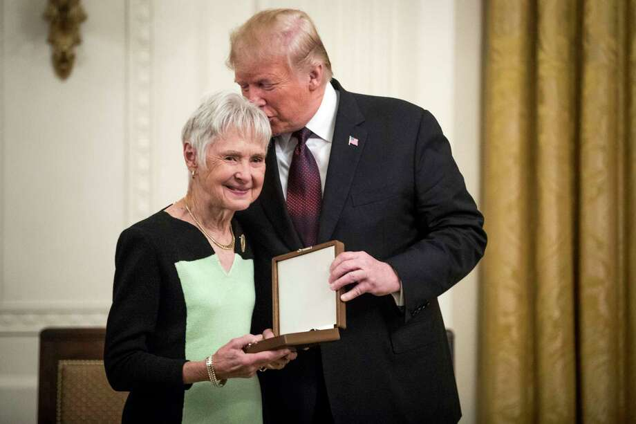Maureen Scalia accepts the Presidential Medal of Freedom on behalf of her late husband, Supreme Court Justice Antonin Scalia, from President Donald Trump during a ceremony at the White House on Friday, Nov. 16, 2018. (Sarah Silbiger/The New York Times) Photo: SARAH SILBIGER / NYTNS