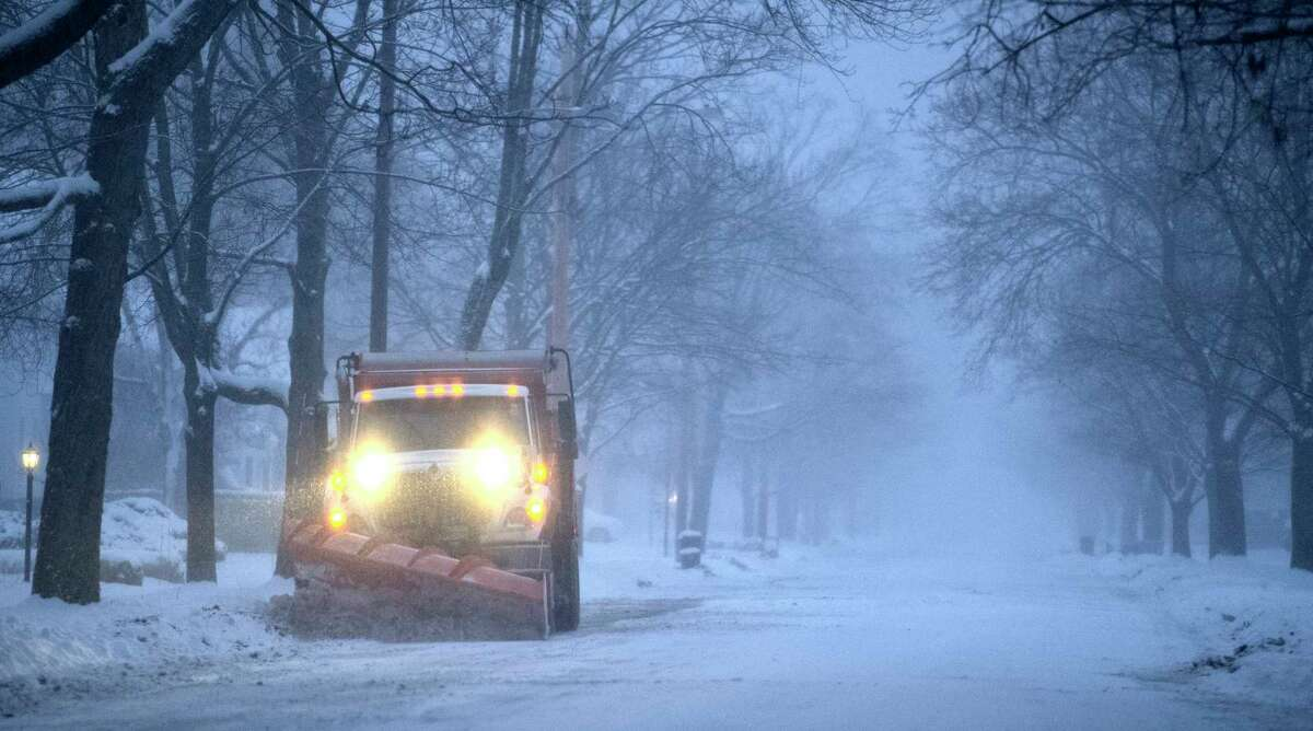 Get used to this scene: Plows should be back on the road when a storm carrying snow and freezing rain moves in Wednesday night. The National Weather Service says the storm could leave roads slick for Thursday's morning commute. (Skip Dickstein/Times Union)