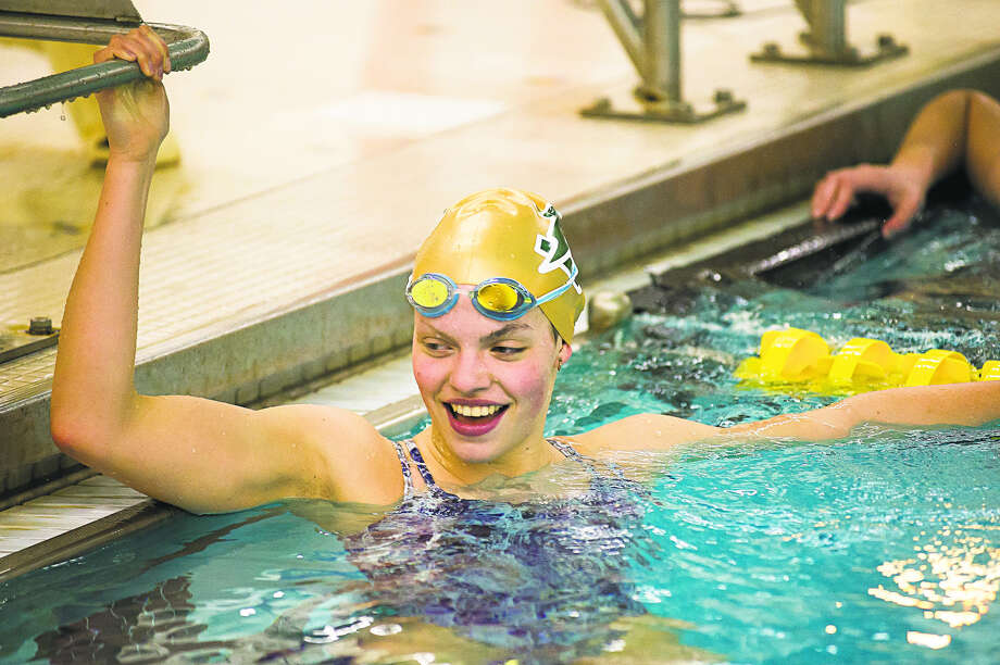Dow swimmer Claire Newman, shown here during practice earlier this week, won the 50 freestyle and 100 freestyle in the preliminary heats on Friday at the Division 2 finals in Rochester. Now, she'll try to win them again in the championship heats on Saturday.
