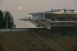 "A smokey haze hangs over Memorial Stadium after it was announced that the ""Big Game"" versus Stanford University over the weekend is canceled due to poor air quality, in Berkeley, California, on Friday, November 16, 2018."