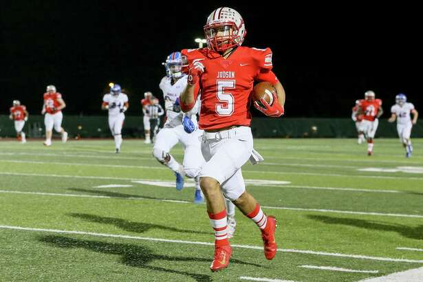 Judson's Lucas Coley runs untouched toward the goal line on a 73-yard touchdown reception during the first half of their Class 6A Division I first round playoff game with Buda Hays at Rutledge Stadium on Friday, Nov. 16, 2018. Judson beat Hays 49-14.