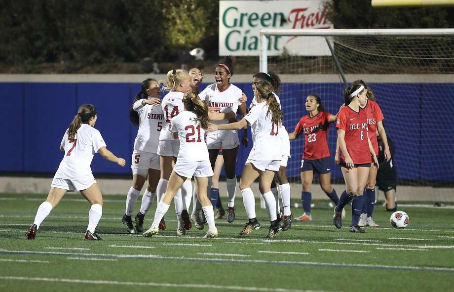 The Stanford women's soccer team celebrates a 4-1 victory over Mississippi in the NCAA tournament in Salinas on Friday night. Photo: Courtesy Of Carlos Gonzalez / Courtesy Of Carlos Gonzalez