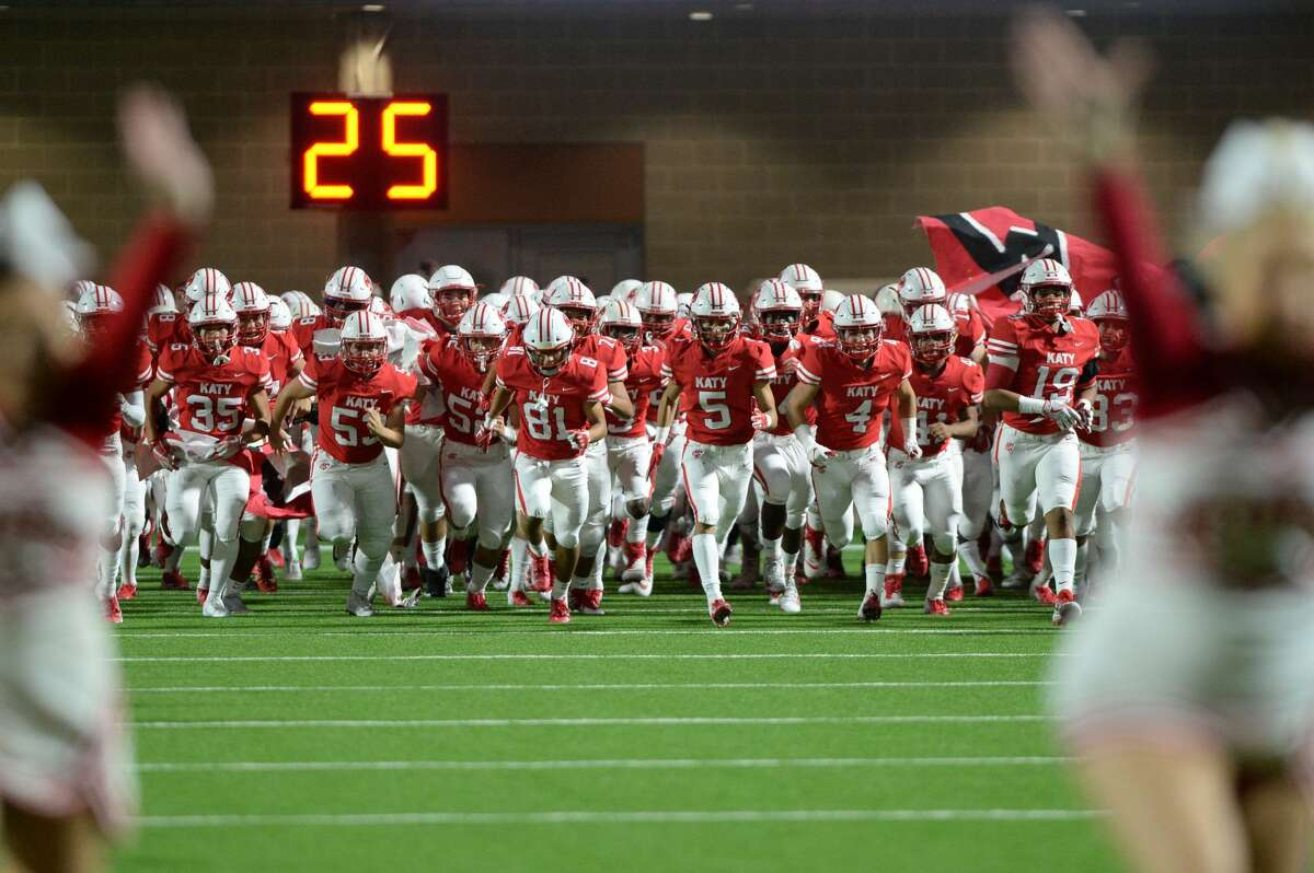 Katy 52, Travis 7 The Katy Tigers take the field for a Class 6A Div. I Reg. III bi-district playoff game against the Travis Tigers on Friday, November 16, 2018 at Legacy Stadium, Katy, TX.