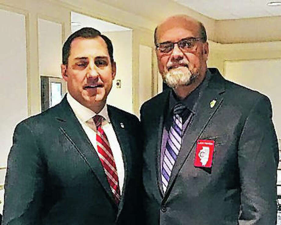 Illinois State Crime Stopper President Loren Hamilton meets with John Lausch, U.S. attorney for the Northern District of Illinois. Photo: Photo Provided