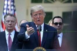 President Donald Trump speaks in the Rose Garden of the White House in Washington, D.C., on Oct. 1, 2018.