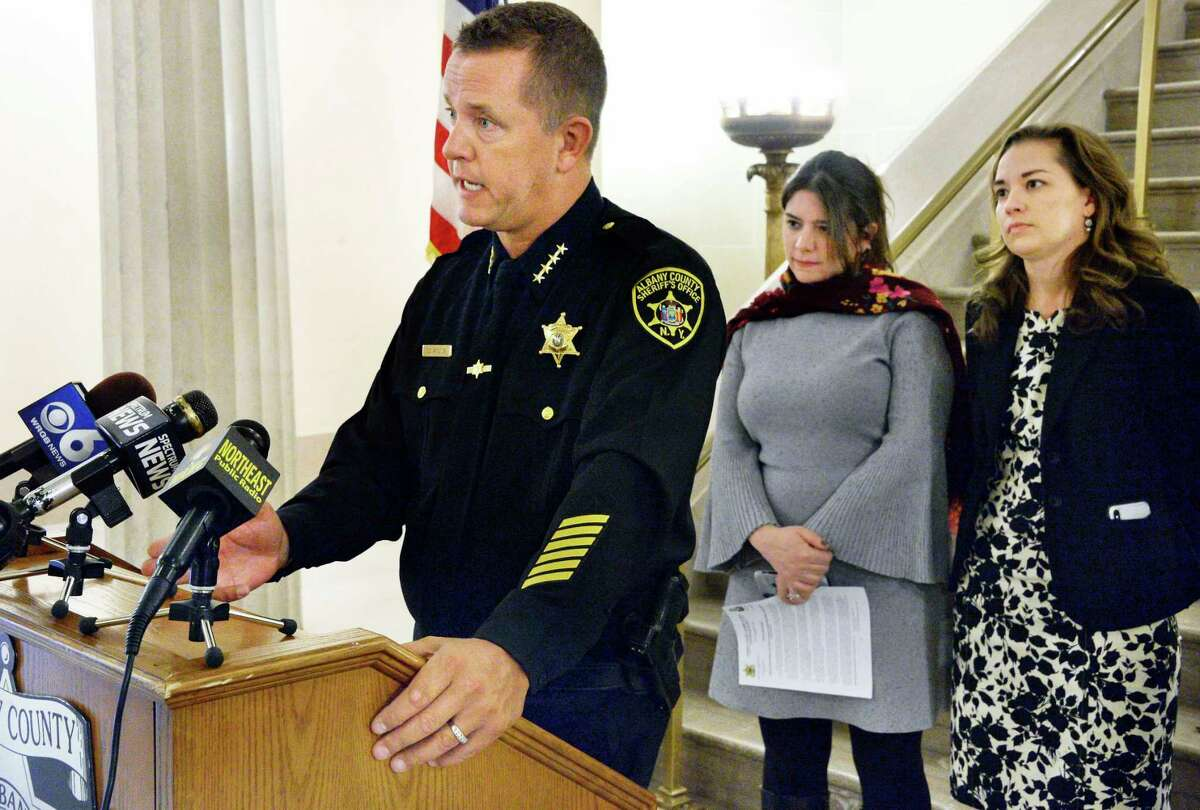 Albany County Sheriff Craig Apple is joined by Camillle Mackler of the NY Immigration Coalition and Sarah Rogerson, right, of Albany Law School to announce the details of a new program designed to assist the immigration population currently being housed at the Albany County Correctional Facility during a news conference Wednesday Nov. 14, 2018 in Albany, NY. (John Carl D'Annibale/Times Union)