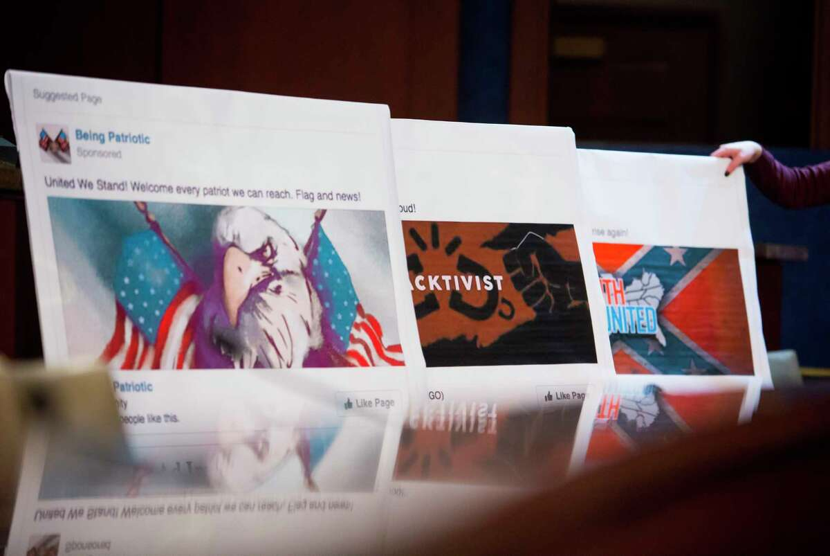 Visual aids at a hearing held by the House Intelligence Committee's Russia Investigative Task Force regarding the 2016 elections, on Capitol Hill in Washington, Nov. 1, 2017. Representatives of Facebook, Google and Twitter faced questions both from senators and here on Wednesday. (Eric Thayer/The New York Times) ORG XMIT: XNYT103