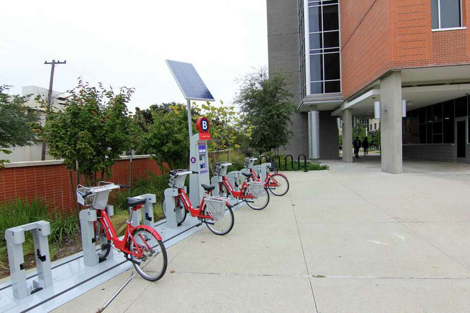 Texas Southern University now hosts five Houston BCycle stations at its Third Ward campus. Shown here is the station at University Towers. Photo: Courtesy Photo ByDoogie Roux