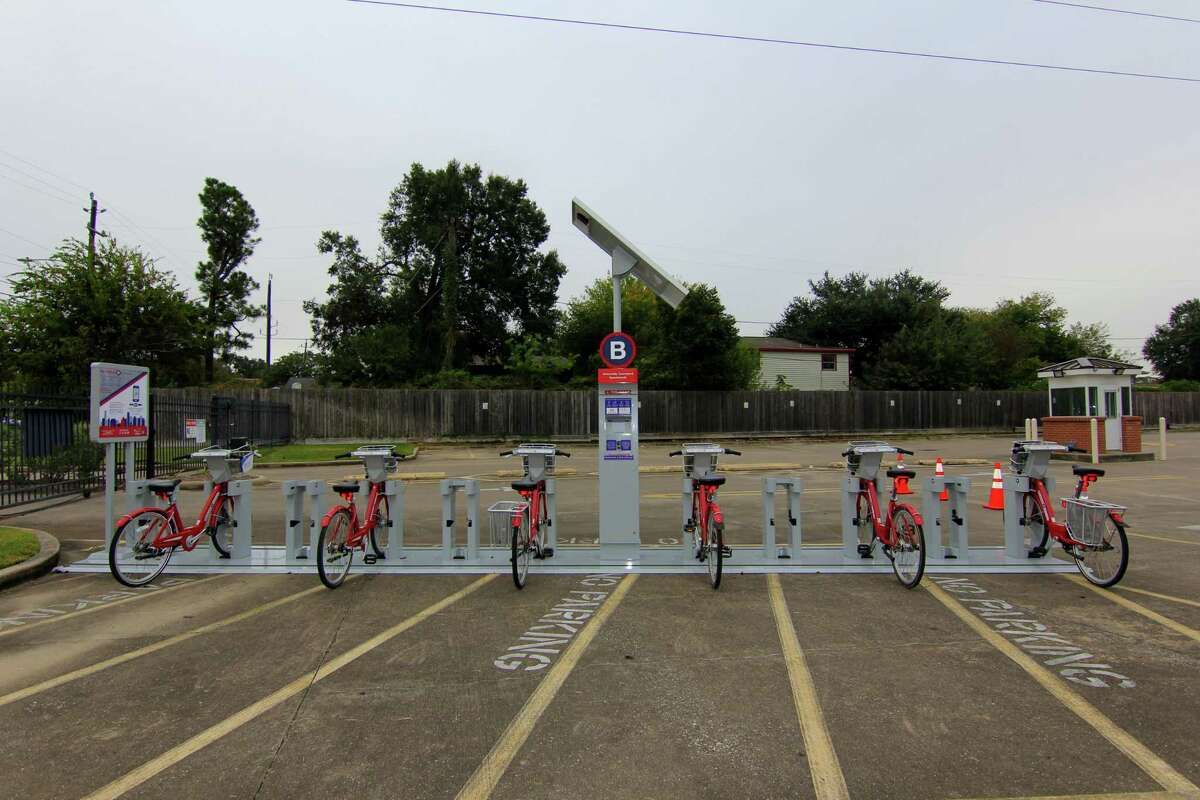 Texas Southern University now hosts five Houston BCycle stations at its Third Ward campus. Shown here is the station at University Courtyard Apartments.