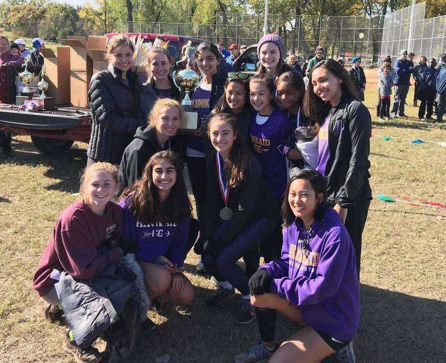 The Kinkaid girls cross country team won the SPC championship Nov. 10 at Norbuck Park in Dallas. The Falcons were represented by Kevriana Scott, Alexandra Blake, Laura Behr, Camila Vicens, Caroline Keller, Alison Zhang, Ellie Lucke, Olivia Fowler, Jordan Jafarnia and Zoe Price. Photo: Kinkaid Athletics / Kinkaid Athletics