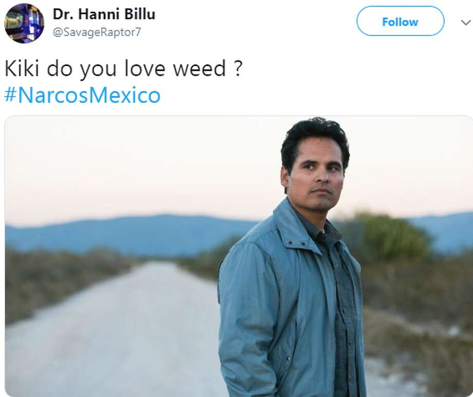 @SavageRaptor7: Kiki do you love weed ? #NarcosMexico Photo: Twitter Screengrabs
