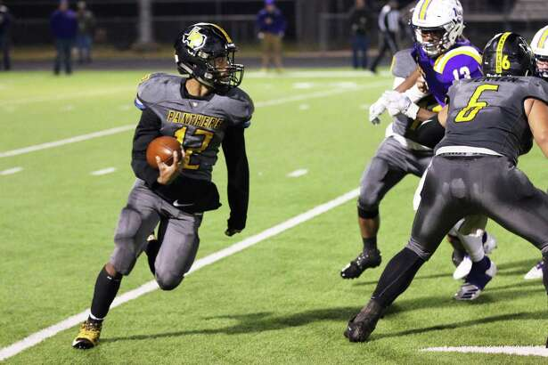 Flip Guillory finds some room on the outside as he rounds his blocking and sprints down the sidelines for big gains Friday night in the Panther win over Center.