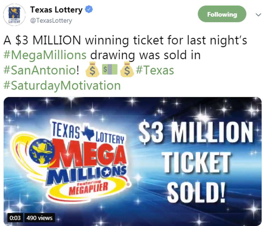 Someone in San Antonio has $3 million waiting for them to claim it, Texas Lottery announced Saturday. Photo: Twitter Screengrabs