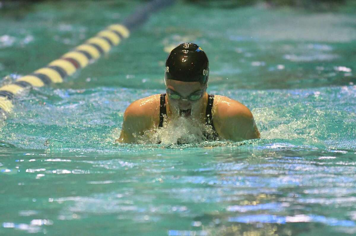 Brookfield's Madeline O'Connor swims the breaststroke leg of the 200-yard medley relay during the CIAC State Open Swimming Championships on Saturday at Yale University in New Haven.