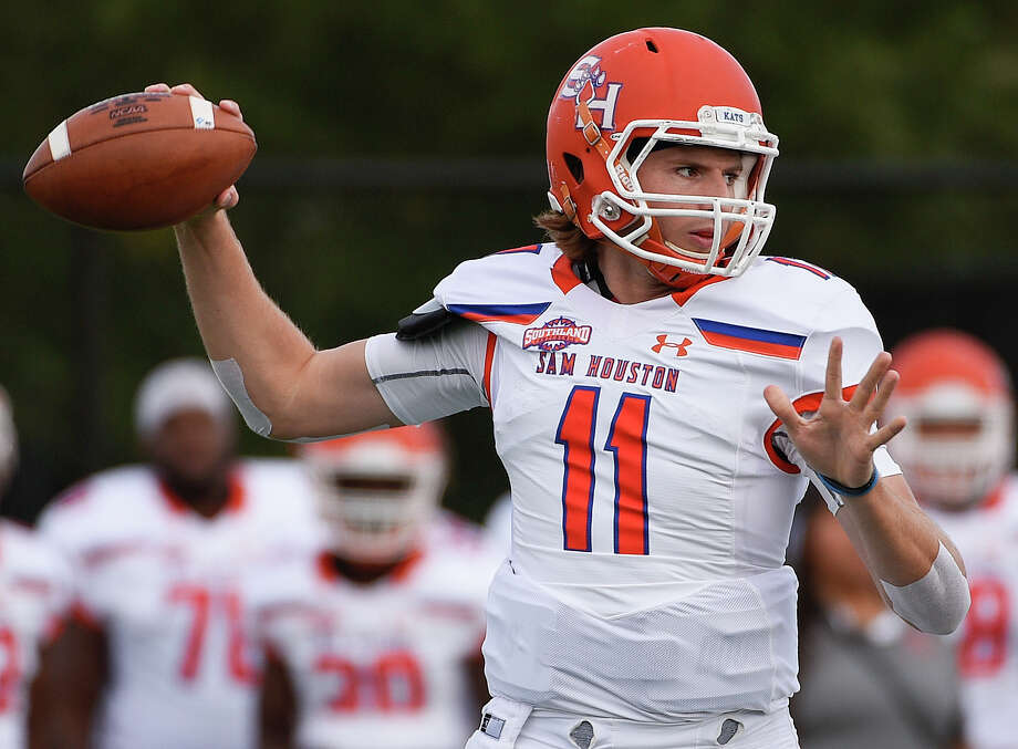 PHOTOS: Best college football gameday traditions in Texas  Sam Houston State quarterback Ty Brock throws a pass during the first half of an NCAA college football game against Houston Baptist, Saturday, Nov. 17, 2018, in Houston. (Eric Christian Smith/Contributor) >>>See some of the best gameday traditions in the state ...  Photo: Eric Christian Smith/Contributor