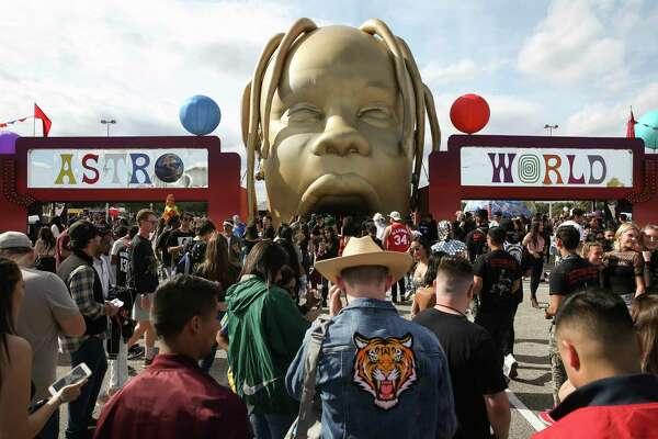 Astroworld Festival-goers entering the fairground at NRG Park on Saturday, Nov. 17, 2018, in Houston.