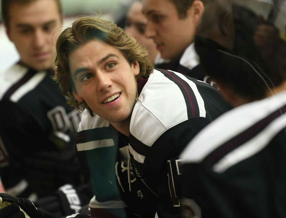 Union hockey team captain Cole Maier is seen through the glass on media day Tuesday, Oct. 2, 2018 in Schenectady, N.Y. (Lori Van Buren/Times Union)