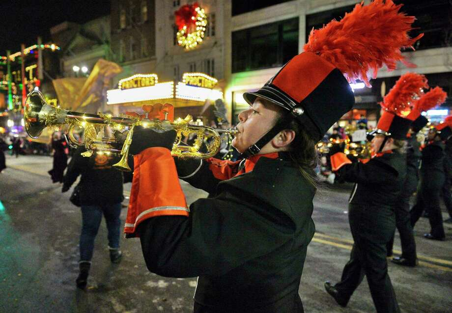 Freshman Kaitlyn Reedy marches with the Mohanasen Marching Band during the 50th anniversary Holiday Parade through downtown Saturday Nov. 17, 2018 in Schenectady, NY.  (John Carl D'Annibale/Times Union) Photo: John Carl D'Annibale, Albany Times Union / 20045257A