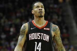 HOUSTON, TX - OCTOBER 24:  Gerald Green #14 of the Houston Rockets reacts in the second half against the Utah Jazz at Toyota Center on October 24, 2018 in Houston, Texas.  NOTE TO USER: User expressly acknowledges and agrees that, by downloading and or using this Photograph, user is consenting to the terms and conditions of the Getty Images License Agreement.  (Photo by Tim Warner/Getty Images)