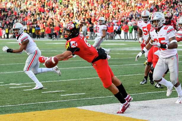 A 2-point conversion attempt sails wide of Maryland wide receiver Jeshaun Jones (6) in overtimeto seal the victory for Ohio State at Maryland Stadium on Saturday afternoon in College Park, Maryland.