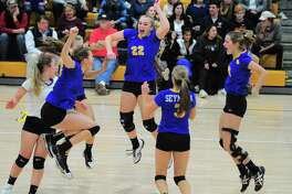 Seymour celebrates its win over Weston during the Class M championship game in East Haven on Saturday.
