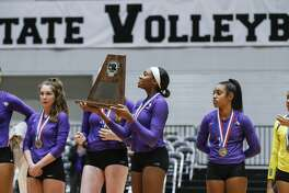 Ridge Point junior Reagan Rutherford (10) and her teammates are awarded the Runner-Up trophy for the Class 6A State Championship volleyball game against Flower Mound at the Curtis Culwell Center in Garland, Texas, Saturday, November 17, 2018. Special to the Houston Chronicle/Brandon Wade.