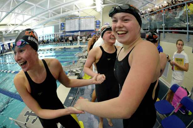 during the 2018 NYSPHSAA Girls Swimming & Diving Championships in Ithaca, N.Y., Saturday, Nov. 17, 2018. (Adrian Kraus / Special to the Times Union)