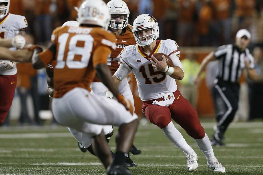 AUSTIN, TX - NOVEMBER 17:  Brock Purdy #15 of the Iowa State Cyclones scrambles pursued by Breckyn Hager #44 of the Texas Longhorns in the first quarter at Darrell K Royal-Texas Memorial Stadium on November 17, 2018 in Austin, Texas.  (Photo by Tim Warner/Getty Images) Photo: Tim Warner/Getty Images