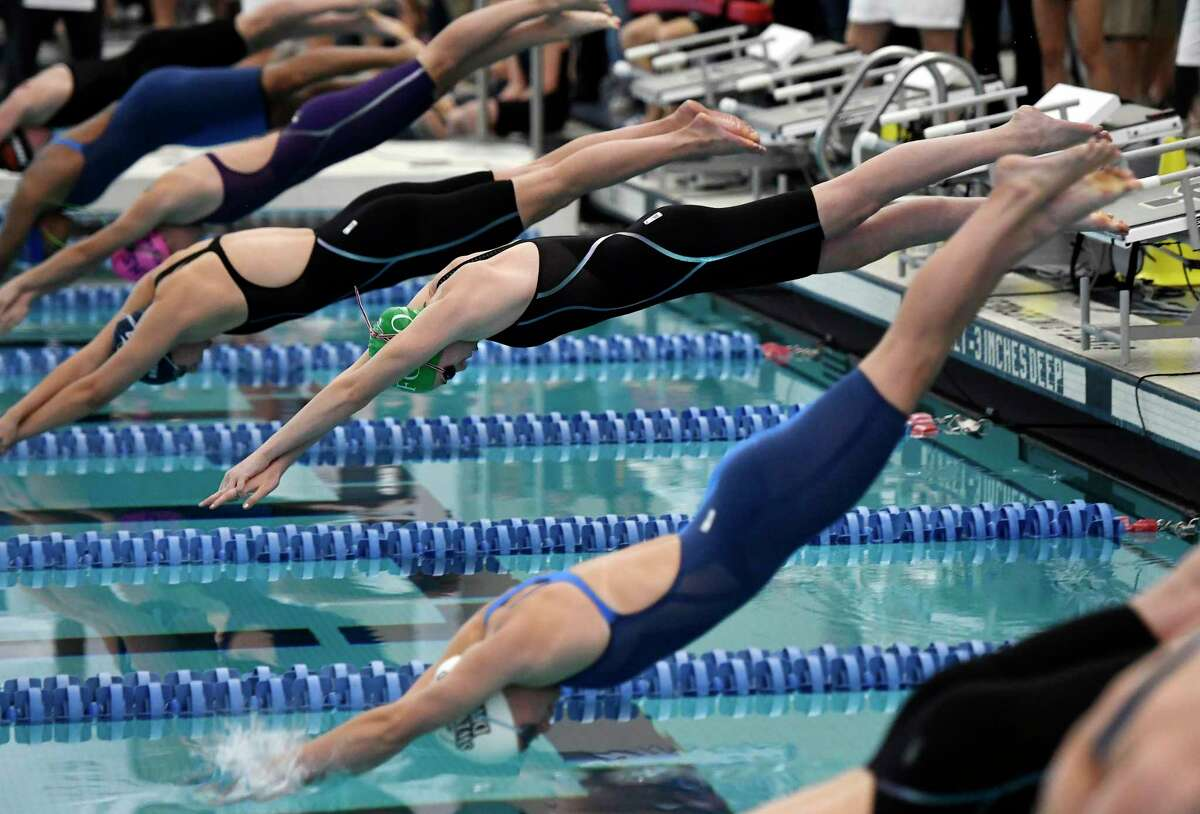 Fonda-Johnstown's Alayna Gray swims in the finals of the 50 yard freestyle during the 2018 NYSPHSAA Girls Swimming & Diving Championships in Ithaca, N.Y., Saturday, Nov. 17, 2018. (Adrian Kraus / Special to the Times Union)