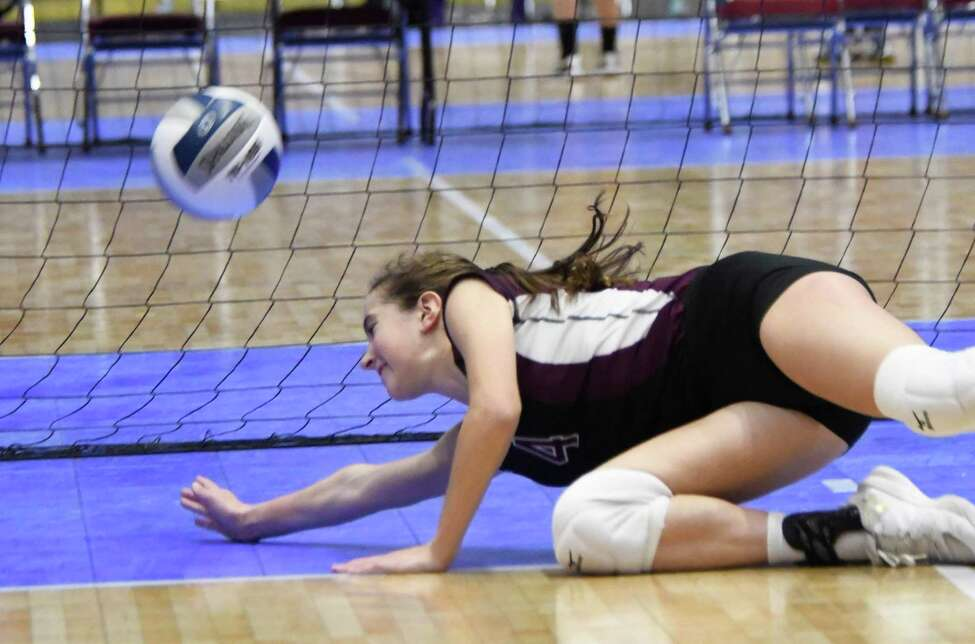 Burnt Hills-Ballston Lake's Claire Isaksen dives for the ball and misses the bump during the Class A state semifinal pool play game against Niagara Wheatfield on Sat., Nov. 17, 2018 at Cool Insuring Arena in Glens Falls, N.Y. (Jenn March, Special to the Times Union)