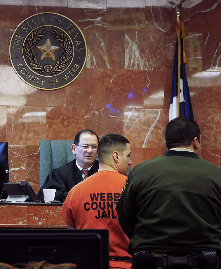 Ronald Anthony Burgos-Aviles stands in the 49th District Courtroom Friday, November 16, 2018 where a hearing before Judge Joe Lopez regarding evidence exchange between the prosecution and defense. Photo: Cuate Santos/Laredo Morning Times