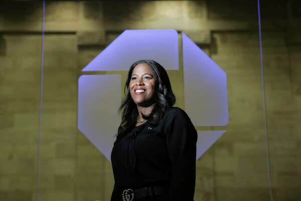 Thasunda Brown Duckett, the CEO of Chase Consumer Banking, poses for a photo for a profile on Wednesday, October 10, 2018 in Houston.