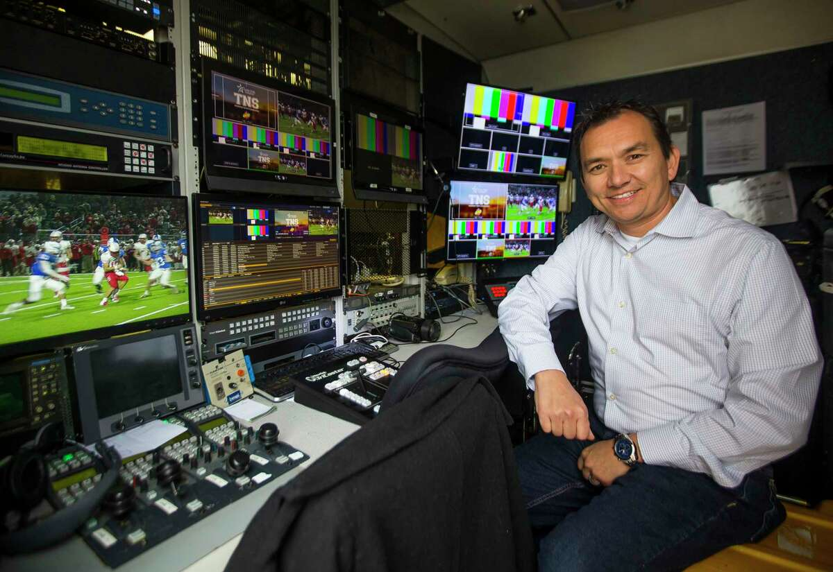 Sam Schrade, who owns DNA Studios LLC, a company which provides remote TV trucks for companies like ESPN and Fox for sports event coverage, inside one of the remote trucks his company owns, Monday, Nov. 12, 2018 in Houston. Schade found that consumer internet access didn't cut it for running his business from home, so he switched to business-class service, even though it was significantly more expensive.