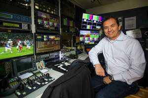 Sam Schrade, who owns DNA Studios LLC, a company which provides remote TV trucks for companies like ESPN and Fox for sports event coverage, inside one of the remote trucks his company owns, Monday, Nov. 12, 2018 in Houston.