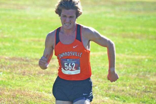 Edwardsville senior Roland Prenzler is on his way to a first-place finish in the Class 3A Edwardsville Regional on Oct. 20 at SIUE.