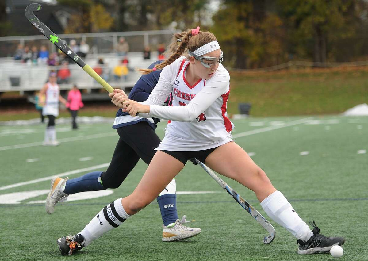 Cheshire's Anne Eddy drives the ball forward during her team's 2-0 loss to Staples in the Class L championship game in Wethersfield on Sunday.