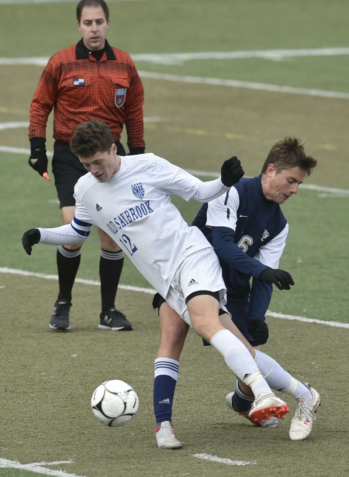 Middletown, Connecticut, November 18, 2018: Old Saybrook High School vs. Morgan H.S. during the second-half of the CIAC 2018 State Boys Class S Soccer Tournament Finals Sunday at Middletown High School. Old Saybrook H.S. defeats Morgan H.S. 2-1.