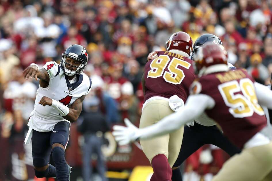 Houston Texans quarterback Deshaun Watson (4) throws against Washington during the fourth quarter of an NFL football game at FedEx Field on Sunday, Nov. 18, 2018, in Landover, Md.