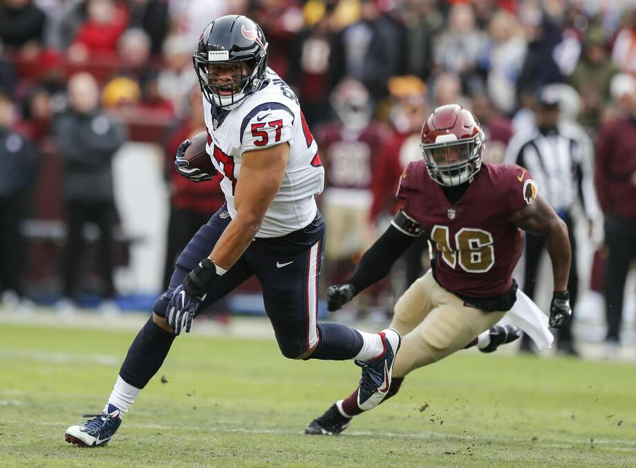 PHOTOS: John McClain's 2018 Week 14 predictions  Houston Texans outside linebacker Brennan Scarlett (57) runs past Washington running back Kapri Bibbs (46) after intercepting an Alex Smith pass during the second quarter of an NFL football game at FedEx Field on Sunday, Nov. 18, 2018, in Landover.  >>>See The General's picks for Week 14 of the NFL season ...  Photo: Brett Coomer/Staff Photographer